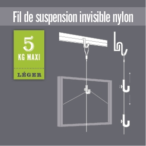 Suspension nylon pour cimaise